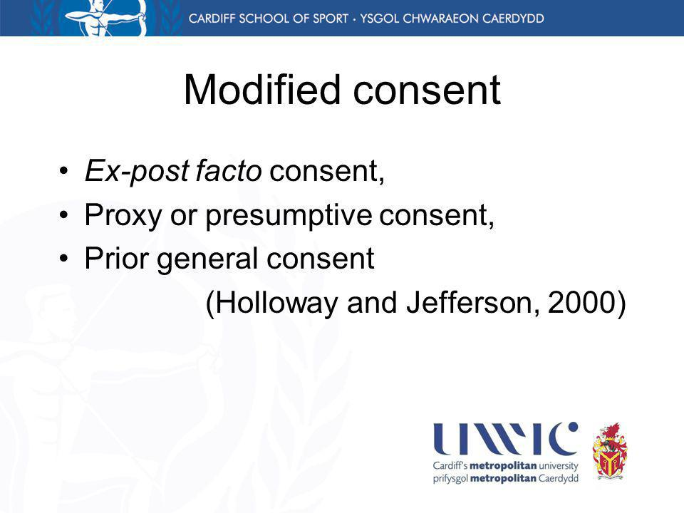 Modified consent Ex-post facto consent, Proxy or presumptive consent, Prior general consent (Holloway and Jefferson, 2000)