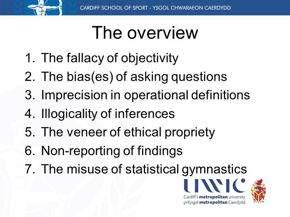 The overview 1.The fallacy of objectivity 2.The bias(es) of asking questions 3.Imprecision in operational definitions 4.Illogicality of inferences 5.The veneer of ethical propriety 6.Non-reporting of findings 7.The misuse of statistical gymnastics