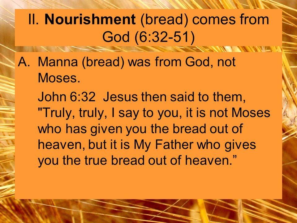 A.Manna (bread) was from God, not Moses.