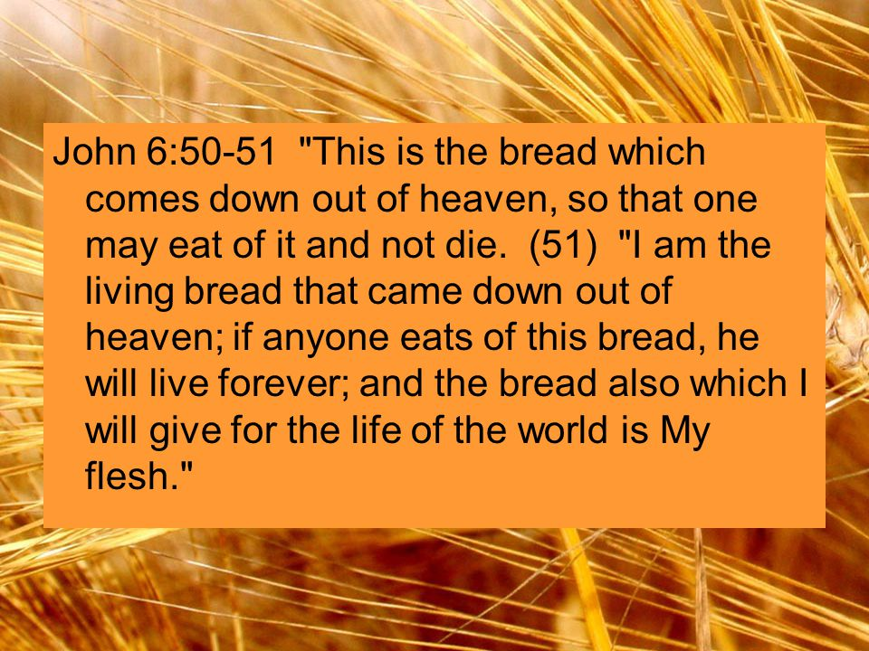 John 6:50-51 This is the bread which comes down out of heaven, so that one may eat of it and not die.