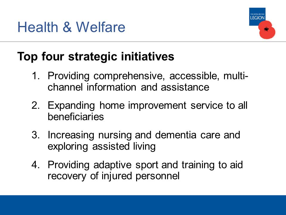 Health & Welfare Top four strategic initiatives 1.Providing comprehensive, accessible, multi- channel information and assistance 2.Expanding home improvement service to all beneficiaries 3.Increasing nursing and dementia care and exploring assisted living 4.Providing adaptive sport and training to aid recovery of injured personnel