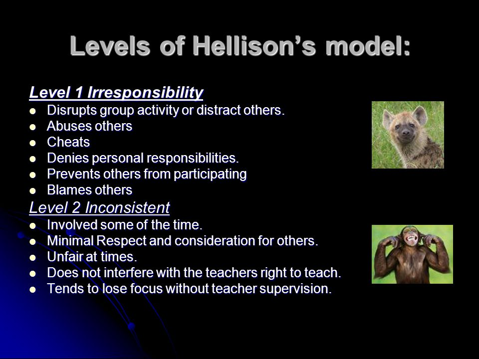 Levels of Hellisons model: Level 1 Irresponsibility Disrupts group activity or distract others.