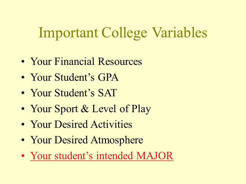 Important College Variables Your Financial Resources Your Students GPA Your Students SAT Your Sport & Level of Play Your Desired Activities Your Desired Atmosphere Your students intended MAJOR
