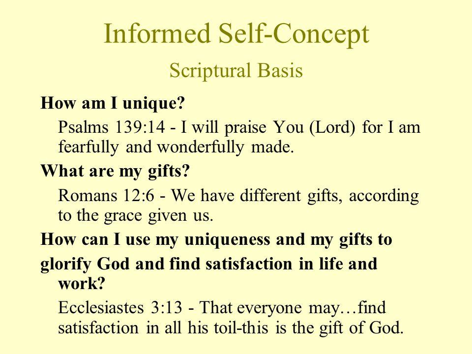 Informed Self-Concept Scriptural Basis How am I unique.