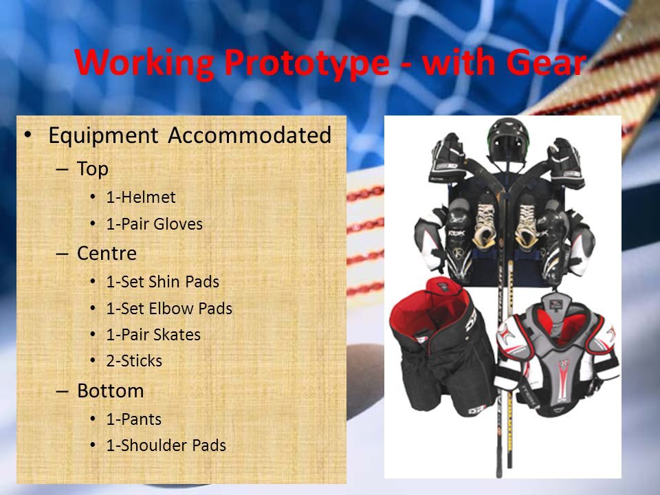 Working Prototype - with Gear Equipment Accommodated – Top 1-Helmet 1-Pair Gloves – Centre 1-Set Shin Pads 1-Set Elbow Pads 1-Pair Skates 2-Sticks – Bottom 1-Pants 1-Shoulder Pads