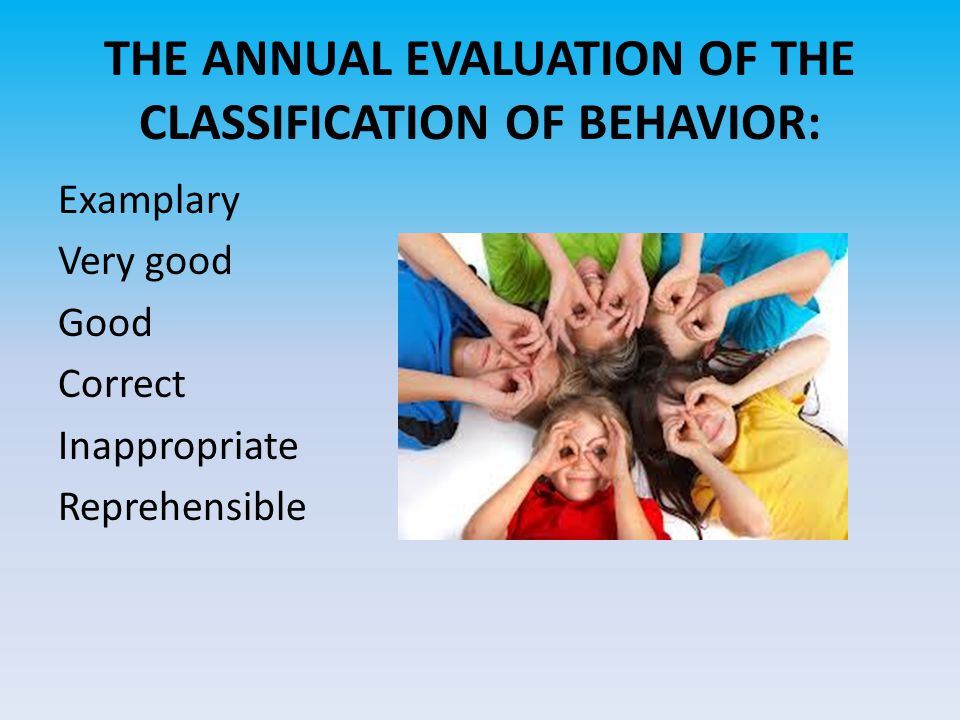 THE ANNUAL EVALUATION OF THE CLASSIFICATION OF BEHAVIOR: Examplary Very good Good Correct Inappropriate Reprehensible