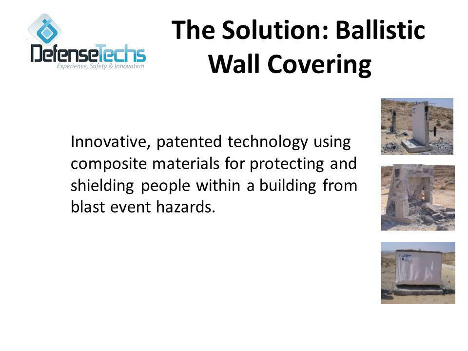 The Solution: Ballistic Wall Covering Innovative, patented technology using composite materials for protecting and shielding people within a building from blast event hazards.