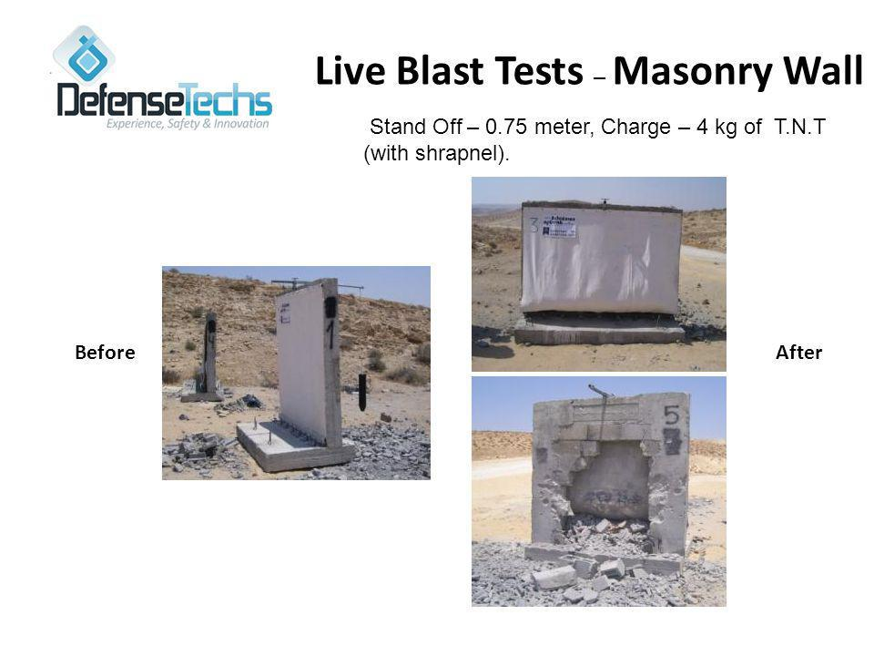 Live Blast Tests – Masonry Wall Stand Off – 0.75 meter, Charge – 4 kg of T.N.T (with shrapnel).