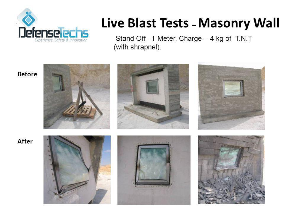 Live Blast Tests – Masonry Wall Stand Off –1 Meter, Charge – 4 kg of T.N.T (with shrapnel).