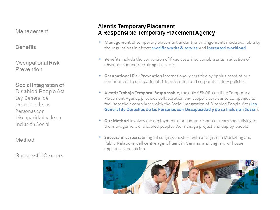 Alentis Temporary Placement A Responsible Temporary Placement Agency Management Benefits Occupational Risk Prevention Social Integration of Disabled P