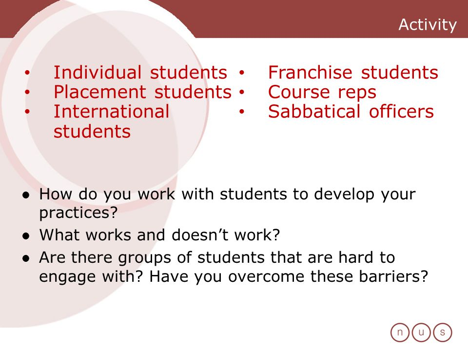 Activity How do you work with students to develop your practices.