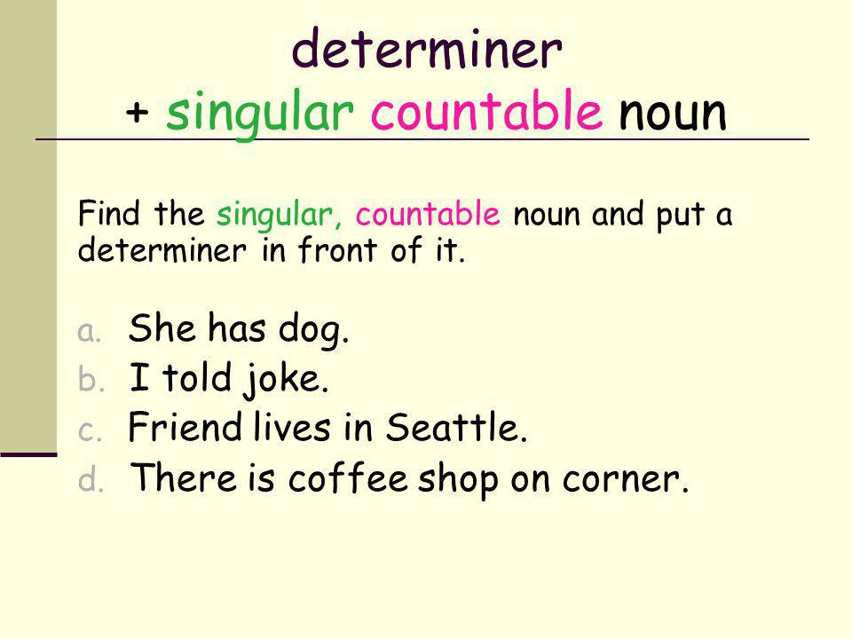 Use a or an when… Heres a tip… A singular, countable noun must always, always, always have a determiner in front of it…