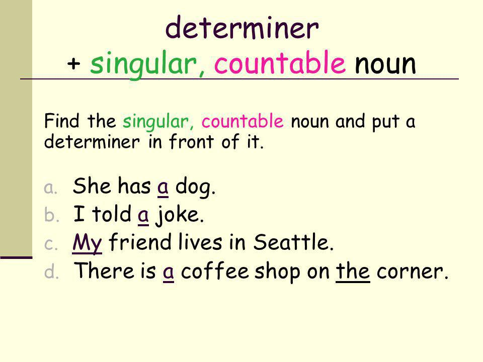 determiner + singular countable noun Find the singular, countable noun and put a determiner in front of it.