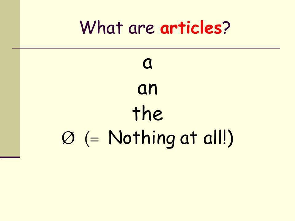 The most common determiners are… articles