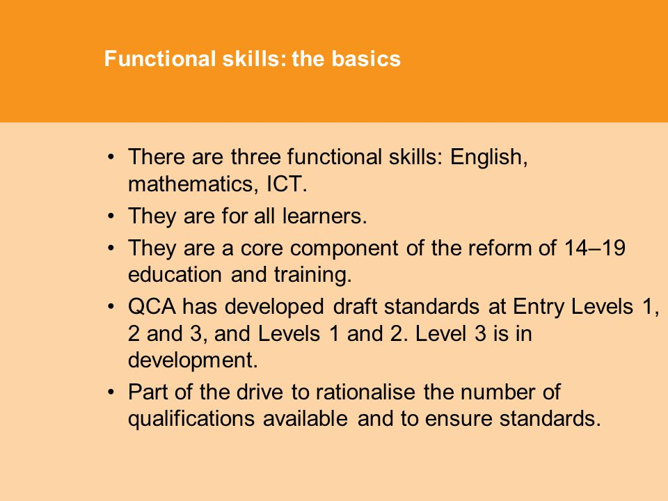 Functional skills: the basics There are three functional skills: English, mathematics, ICT.