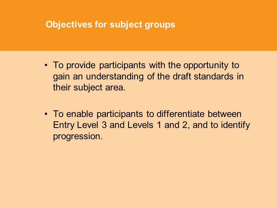 Objectives for subject groups To provide participants with the opportunity to gain an understanding of the draft standards in their subject area.