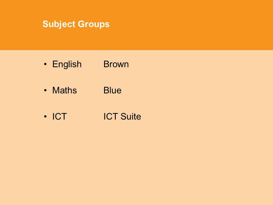 Subject Groups EnglishBrown Maths Blue ICTICT Suite