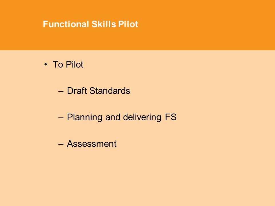 Functional Skills Pilot To Pilot –Draft Standards –Planning and delivering FS –Assessment