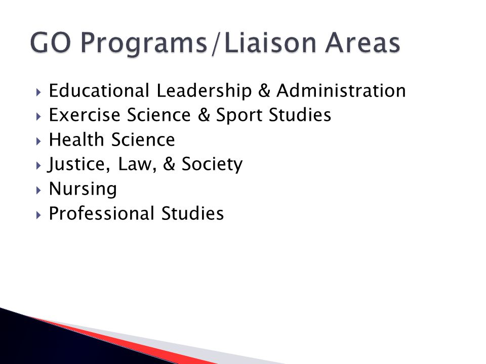 Educational Leadership & Administration Exercise Science & Sport Studies Health Science Justice, Law, & Society Nursing Professional Studies
