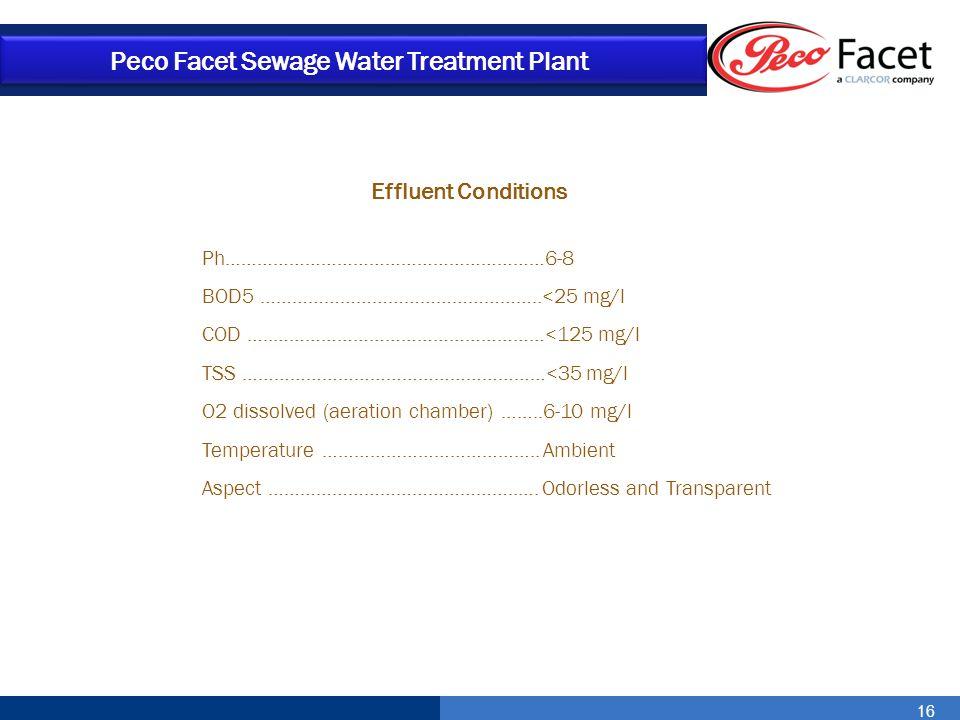 16 Peco Facet Sewage Water Treatment Plant Effluent Conditions Ph……………………………………………………6-8 BOD5 ……………………………………………..<25 mg/l COD …..……………………………………………<125
