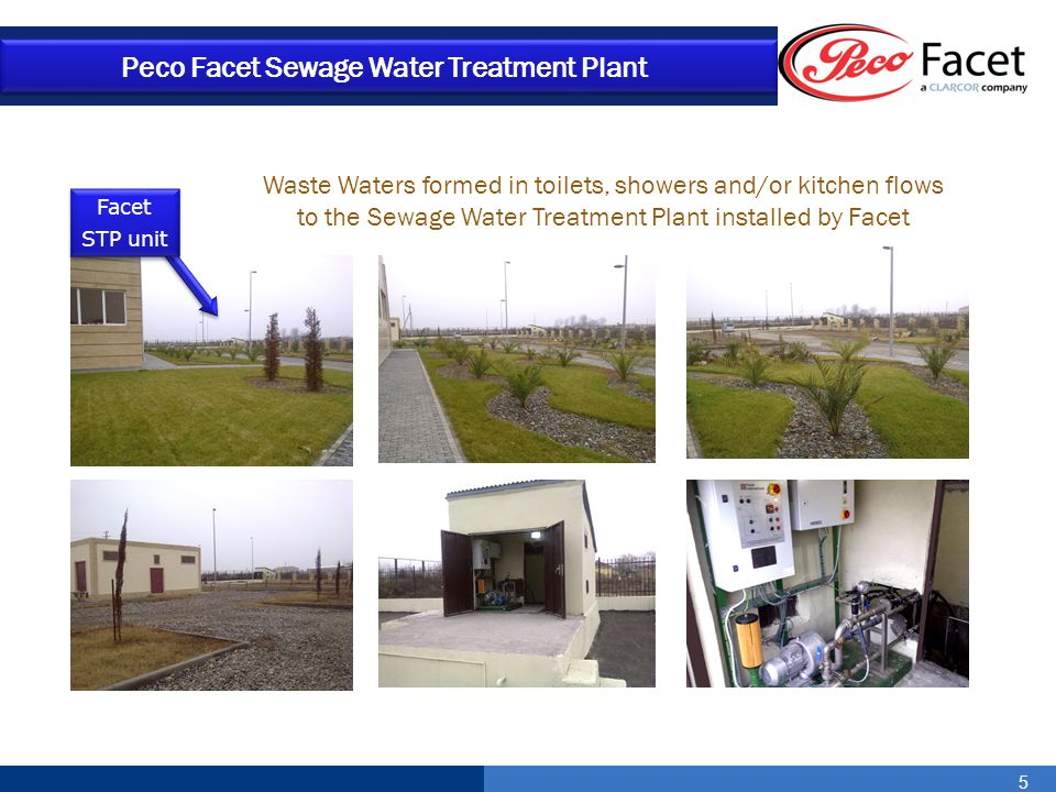 5 Peco Facet Sewage Water Treatment Plant Waste Waters formed in toilets, showers and/or kitchen flows to the Sewage Water Treatment Plant installed b