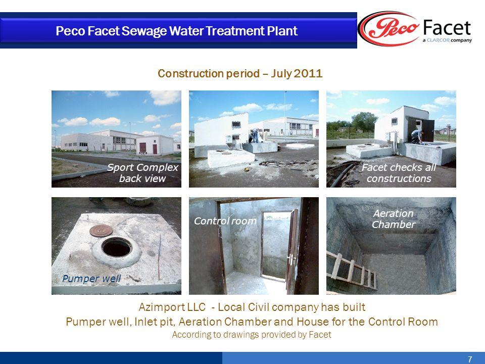 7 Peco Facet Sewage Water Treatment Plant Construction period – July 2011 Azimport LLC - Local Civil company has built Pumper well, Inlet pit, Aeratio