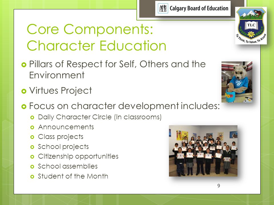 Core Components: Character Education Pillars of Respect for Self, Others and the Environment Virtues Project Focus on character development includes: