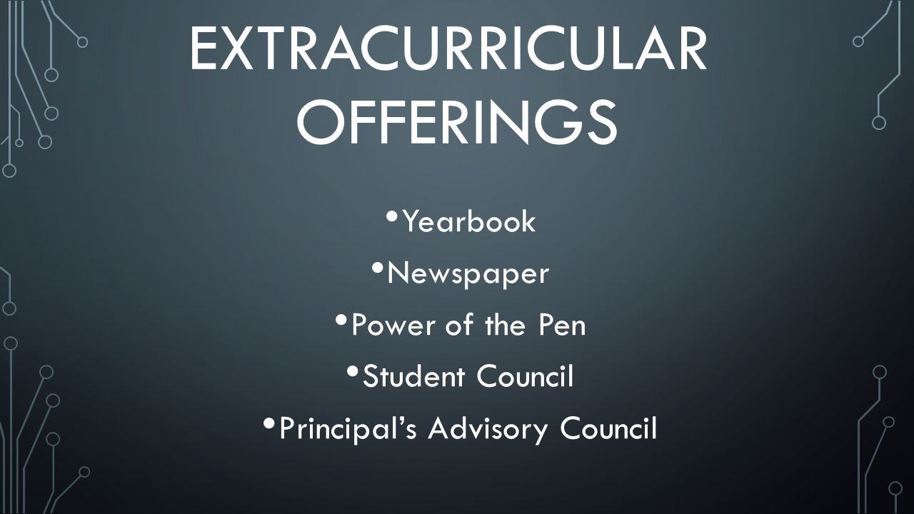EXTRACURRICULAR OFFERINGS Yearbook Newspaper Power of the Pen Student Council Principals Advisory Council