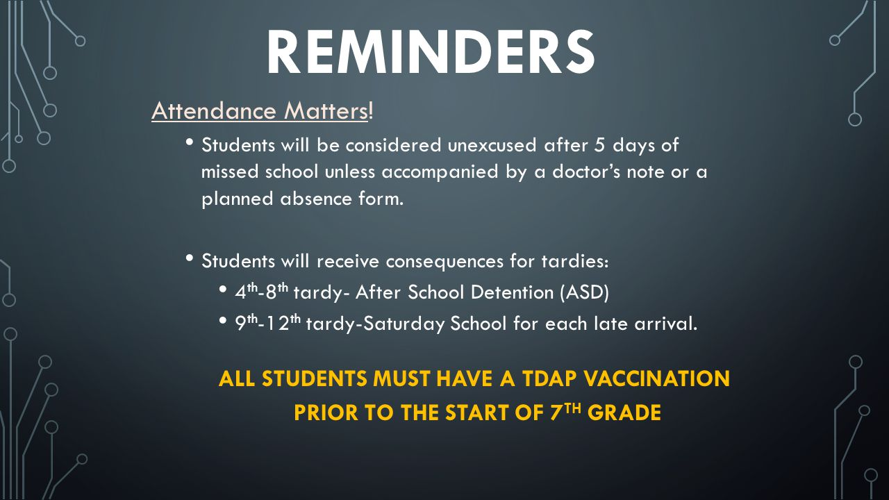 REMINDERS Attendance Matters! Students will be considered unexcused after 5 days of missed school unless accompanied by a doctors note or a planned ab