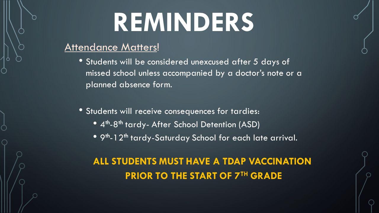 REMINDERS Attendance Matters.
