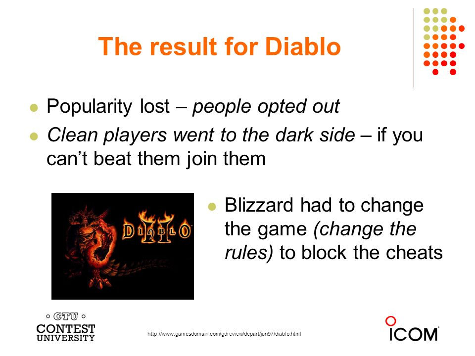 Popularity lost – people opted out Clean players went to the dark side – if you cant beat them join them The result for Diablo http://www.gamesdomain.com/gdreview/depart/jun97/diablo.html Blizzard had to change the game (change the rules) to block the cheats