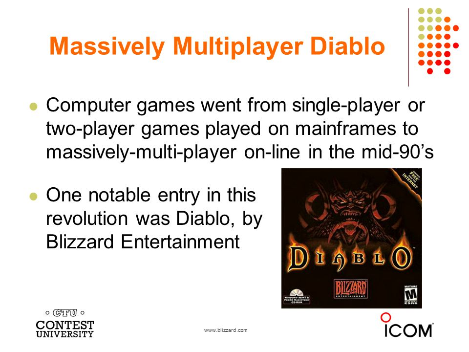 Computer games went from single-player or two-player games played on mainframes to massively-multi-player on-line in the mid-90s One notable entry in this revolution was Diablo, by Blizzard Entertainment Massively Multiplayer Diablo www.blizzard.com