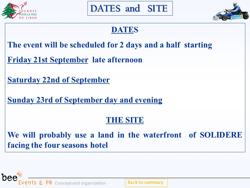 Back to summary Concept and organization DATES The event will be scheduled for 2 days and a half starting Friday 21st September late afternoon Saturday 22nd of September Sunday 23rd of September day and evening THE SITE We will probably use a land in the waterfront of SOLIDERE facing the four seasons hotel DATES and SITE DATES and SITE