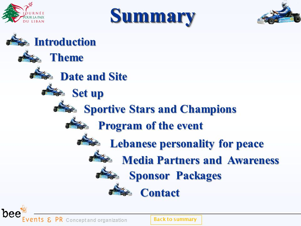 Back to summarySummarySummary Theme Sponsor Packages Sponsor Packages Introduction Date and Site Date and Site Set up Set up Program of the event Program of the event Contact Concept and organization Sportive Stars and Champions Sportive Stars and Champions Lebanese personality for peace Lebanese personality for peace Media Partners and Awareness Media Partners and Awareness