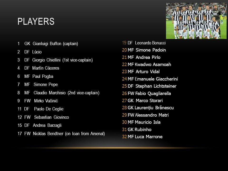 1 GK Gianluigi Buffon (captain) 2 DF Lúcio 3 DF Giorgio Chiellini (1st vice-captain) 4 DF Martín Cáceres 6 MF Paul Pogba 7 MF Simone Pepe 8 MF Claudio