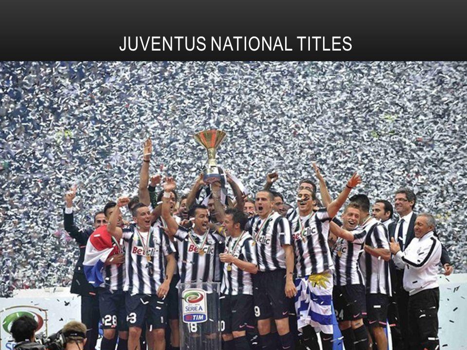 JUVENTUS NATIONAL TITLES Italian Football Championship / Serie A: 30 Coppa Italia: 9 Coppa Italia Supercoppa Italiana: 5 [ Supercoppa Italiana [ Serie B: 1 Serie B