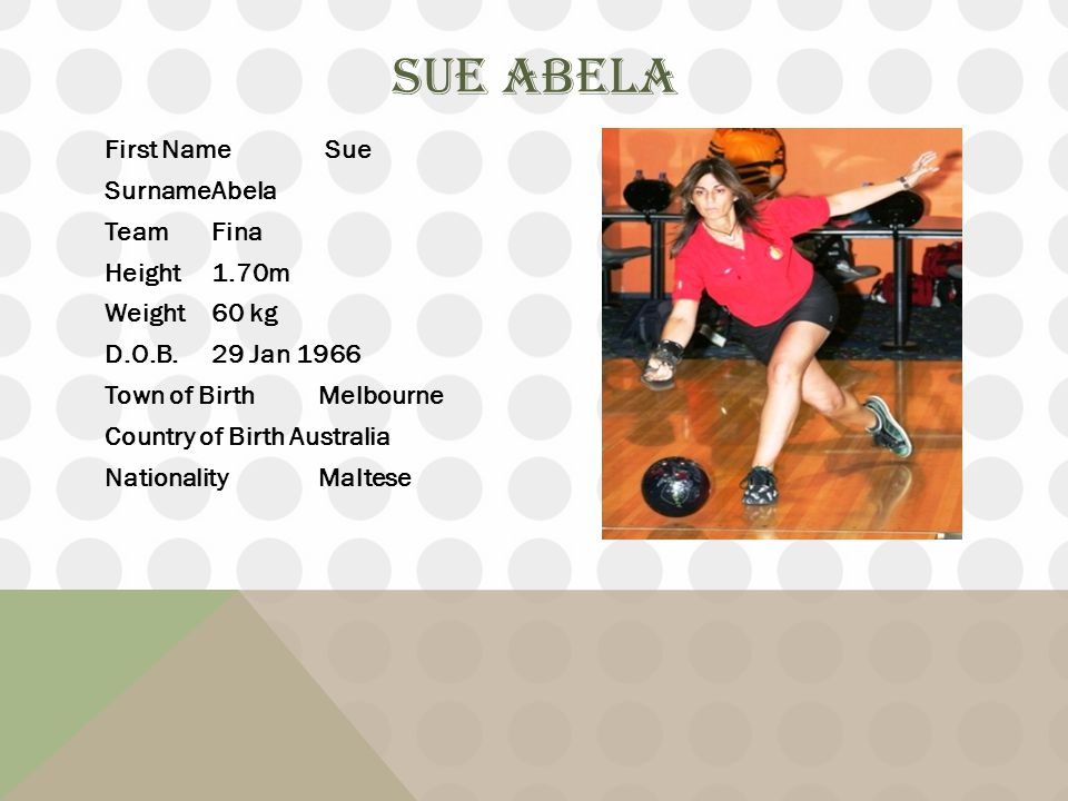 SUE ABELA First Name Sue SurnameAbela TeamFina Height1.70m Weight60 kg D.O.B.29 Jan 1966 Town of BirthMelbourne Country of Birth Australia NationalityMaltese