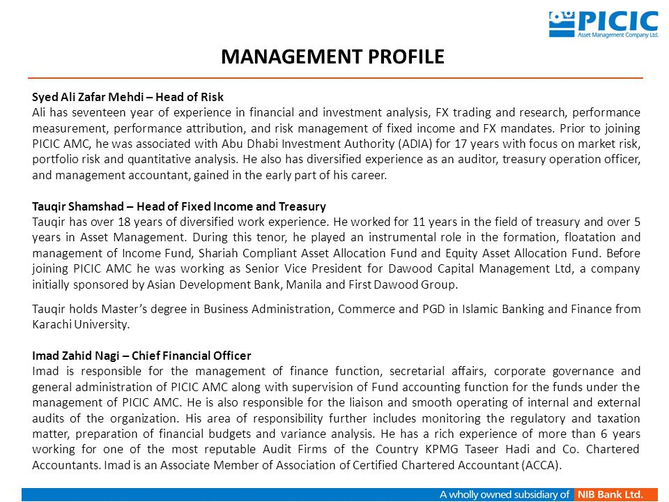 Saad H Qureshi – Head of Corporate Saad joined PICIC AMC as Head of Corporate in June 2013.