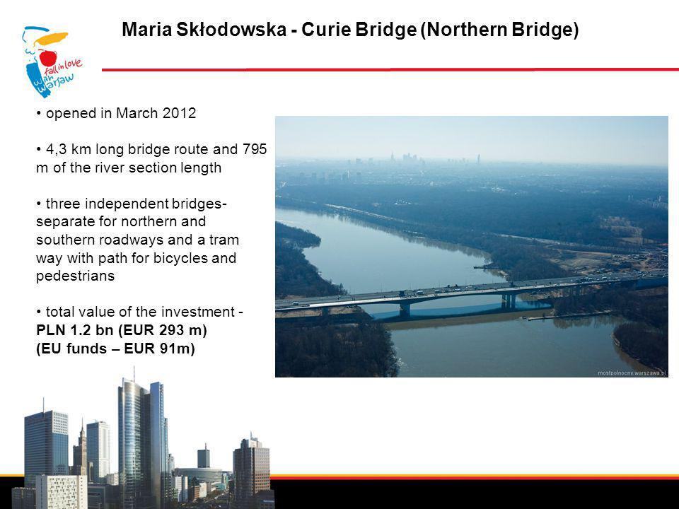 Invest in Warsaw Maria Skłodowska - Curie Bridge (Northern Bridge) opened in March 2012 4,3 km long bridge route and 795 m of the river section length three independent bridges- separate for northern and southern roadways and a tram way with path for bicycles and pedestrians total value of the investment - PLN 1.2 bn (EUR 293 m) (EU funds – EUR 91m)