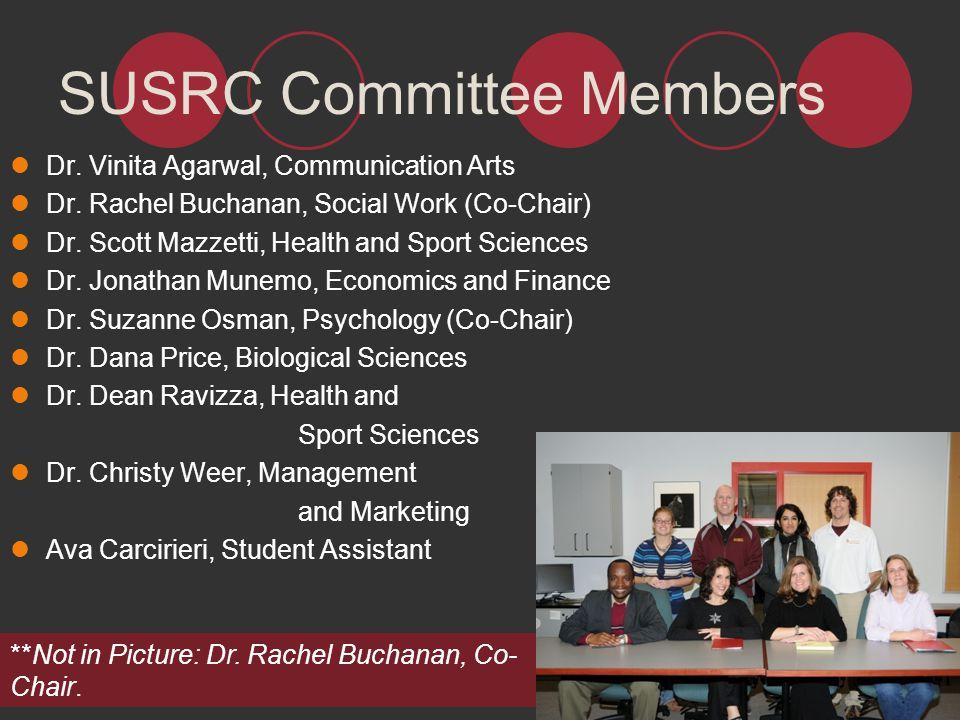 SUSRC Committee Members Dr. Vinita Agarwal, Communication Arts Dr. Rachel Buchanan, Social Work (Co-Chair) Dr. Scott Mazzetti, Health and Sport Scienc