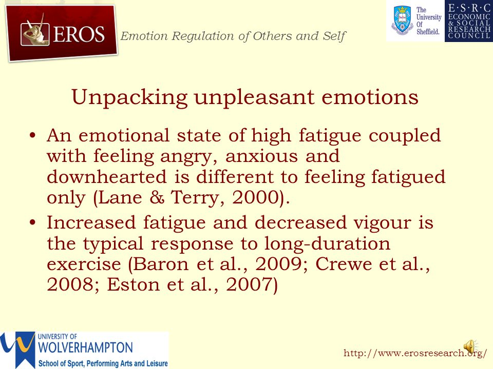 Emotion Regulation of Others and Self http://www.erosresearch.org/ Discussion Regulating unpleasant emotions during intense exercise appears effortful (Gaillot et al., 2007).