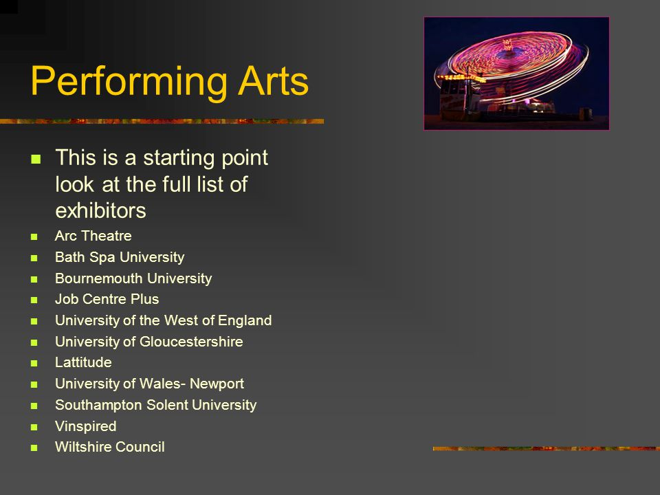 Performing Arts This is a starting point look at the full list of exhibitors Arc Theatre Bath Spa University Bournemouth University Job Centre Plus University of the West of England University of Gloucestershire Lattitude University of Wales- Newport Southampton Solent University Vinspired Wiltshire Council