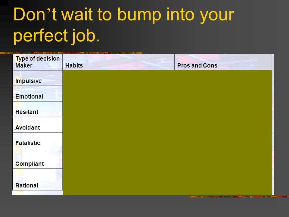 Don t wait to bump into your perfect job.