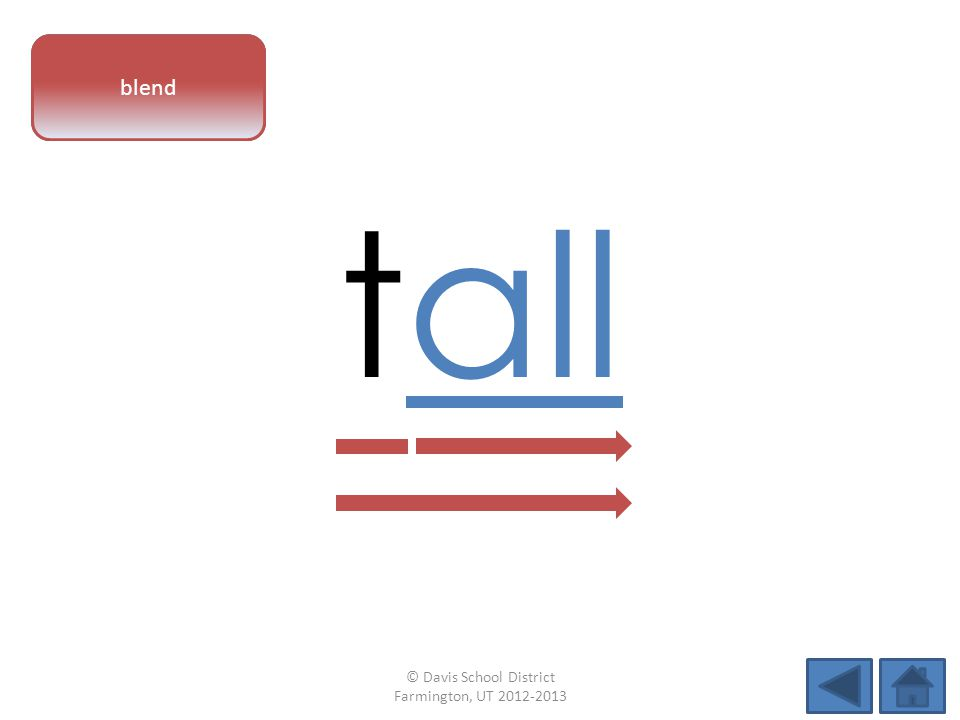 vowel pattern tall blend © Davis School District Farmington, UT 2012-2013