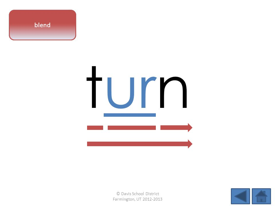 vowel pattern turn blend © Davis School District Farmington, UT 2012-2013