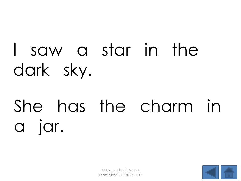 I saw a star in the dark sky.