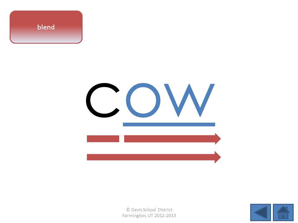 vowel pattern cow blend © Davis School District Farmington, UT 2012-2013