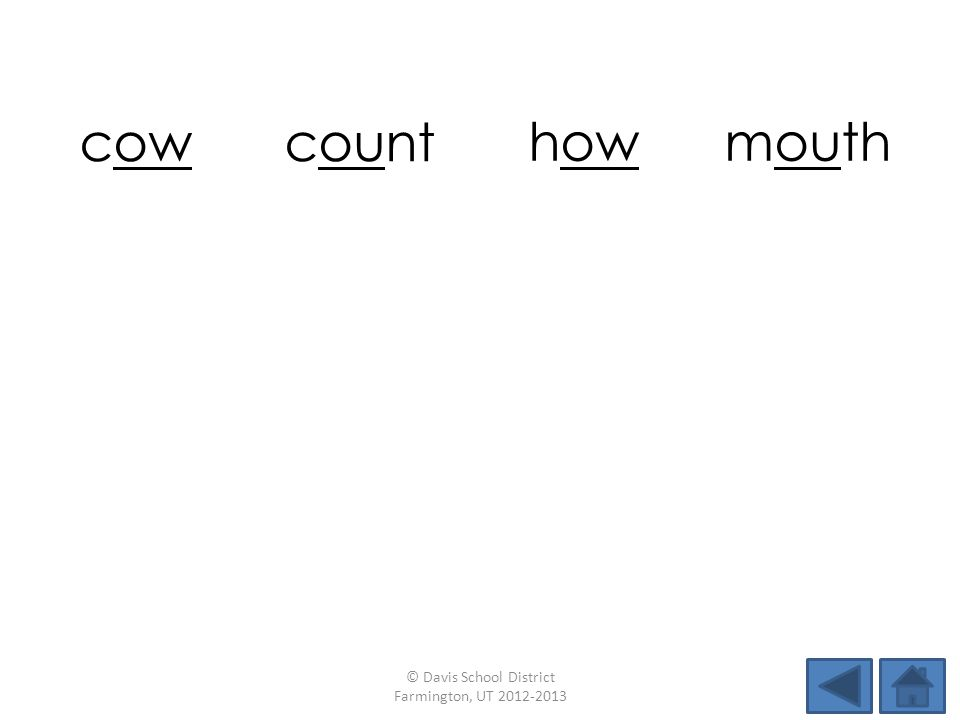 cow count howmouth hound rainnowchow maildownbaitfound © Davis School District Farmington, UT 2012-2013