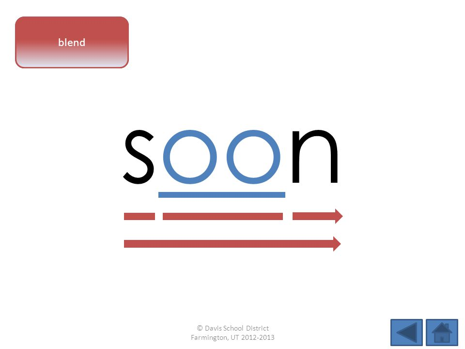 vowel pattern soon blend © Davis School District Farmington, UT 2012-2013