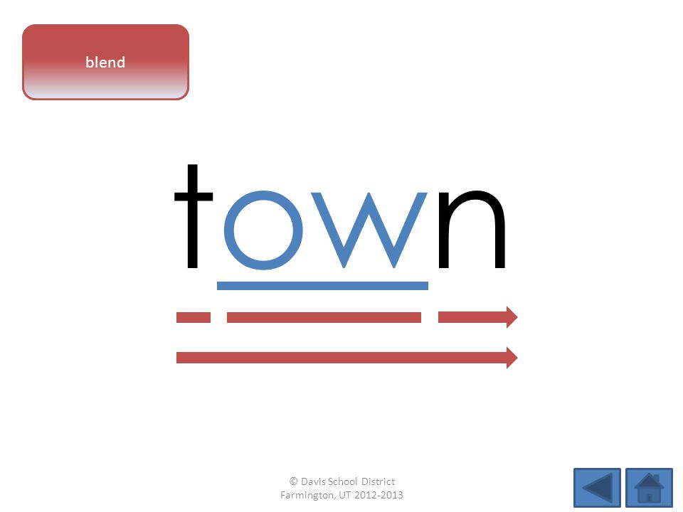 vowel pattern town blend © Davis School District Farmington, UT 2012-2013